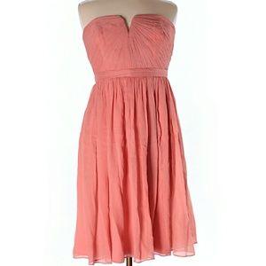 J. Crew Nadia Silk Chiffon Strapless Shirred Dress